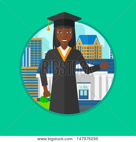 An african graduate in cloak and graduation cap giving thumb up. Graduate celebrating on a background of educational building. Vector flat design illustration in the circle isolated on background.
