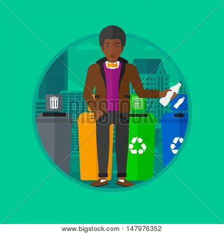 An african-american man standing near four bins on a city background and throwing away plastic bottle in an appropriate bin. Vector flat design illustration in the circle isolated on background.