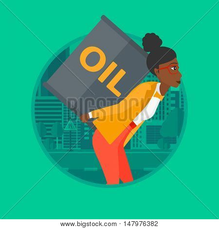 An african-american woman carrying an oil barrel on her back. Young woman with oil barrel walking on a city background. Vector flat design illustration in the circle isolated on background.