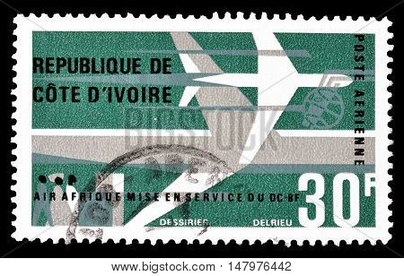 IVORY COAST - CIRCA 1966 : Cancelled postage stamp printed by Ivory Coast, that shows Air Africa.