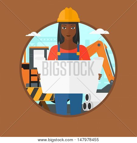 African-american engineer watching a blueprint at construction site. Woman with engineer blueprint. Engineer holding a blueprint. Vector flat design illustration in the circle isolated on background.