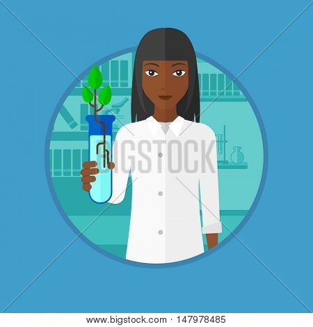An african-american young scientist holding test tube with young plant. Female scientist analyzing sprout in test tube. Vector flat design illustration in the circle isolated on background.