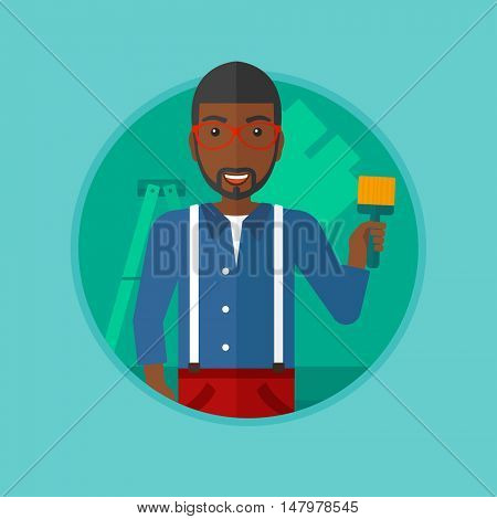An african-american painter holding a paint brush. Painter painting walls with paint brush at home. House renovation concept. Vector flat design illustration in the circle isolated on background.