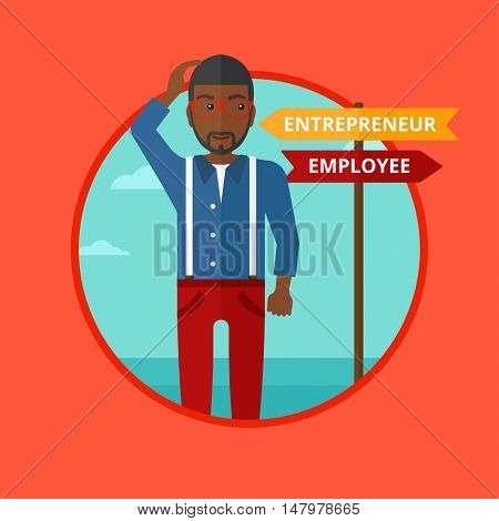 An african-american man standing at road sign with two career pathways. Young man making a decision of his career pathway. Vector flat design illustration in the circle isolated on background.