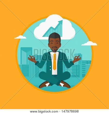 An african-american peaceful businessman with eyes closed doing yoga in lotus pose outdoors and thinking about the growth graph. Vector flat design illustration in the circle isolated on background.