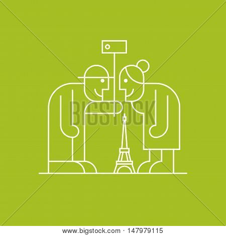 Old people making selfie with camera and stick near Eiffel tower in Paris vector linear symbol icon. Active and modern pensioners elderly people clipart