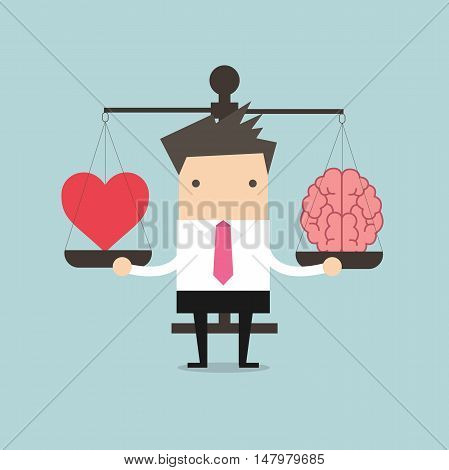 Businessman with Heart and brain on scales vector