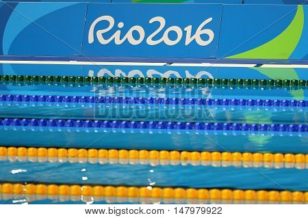RIO DE JANEIRO, BRAZIL - AUGUST 12, 2016: Swimming pool at Olympic Aquatic Center during Rio 2016 Olympic Games