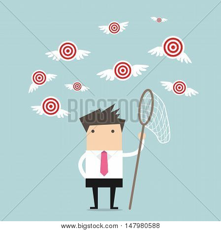 Businessman try to catch flying target vector