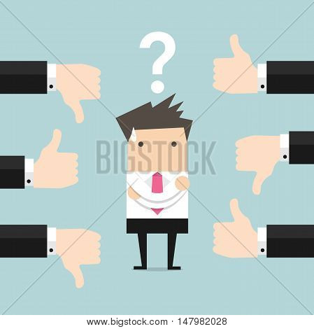 Businessman get feedback from other people. Vector