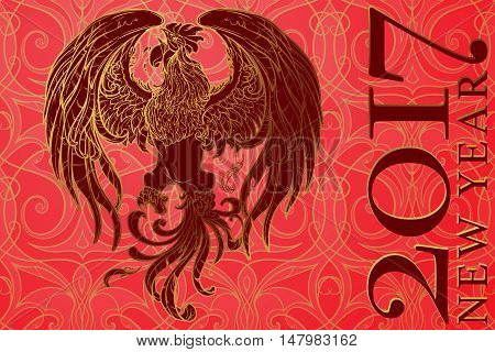 New year greeting card or calendar cover with a rooster as a symbol of the 2017 year. Intricate linear drawing of the Rooster on the traditional chinese pattern background. EPS10 vector illustration.