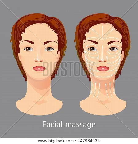 Vector illustration with female head, neck, face massage lines. Scheme face massage demonstrated on beautiful young woman.