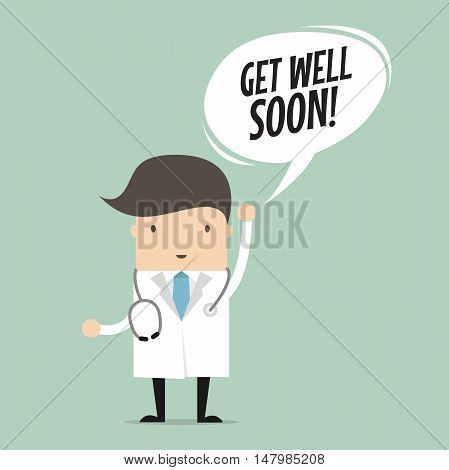 Doctor with Get Well Soon Speech Bubble. vector