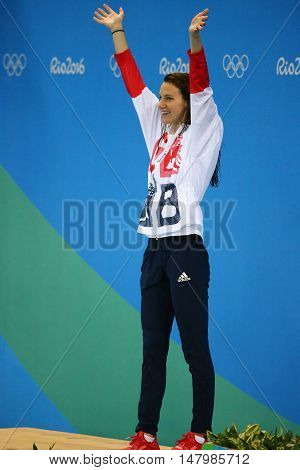 RIO DE JANEIRO, BRAZIL - AUGUST 12, 2016: Silver medalist Jazmin Carlin of Great Britain during medal ceremony after the Women's 800m freestyle competition of the Rio 2016 Olympic Games