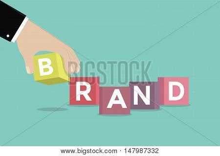 Businessman hand with Brand cubic box puzzle, vector