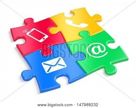 Website contact us concept - colorful puzzles witn contacts icons. 3d illustration