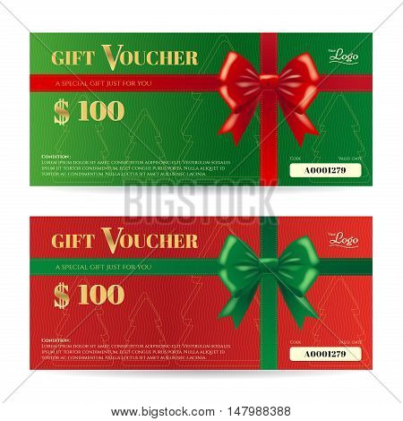 Elegance christmas gift card or gift voucher template with shiny red and green bows and ribbons vector