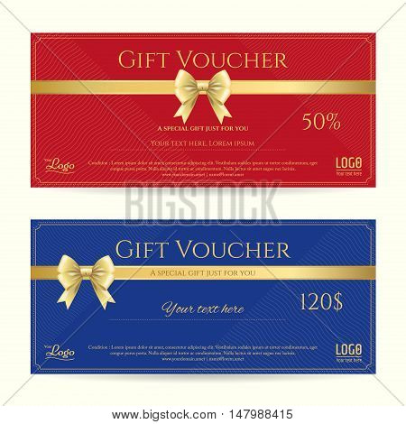 Elegant gift card or gift voucher template with shiny gold bows and ribbons vector on blue and red background