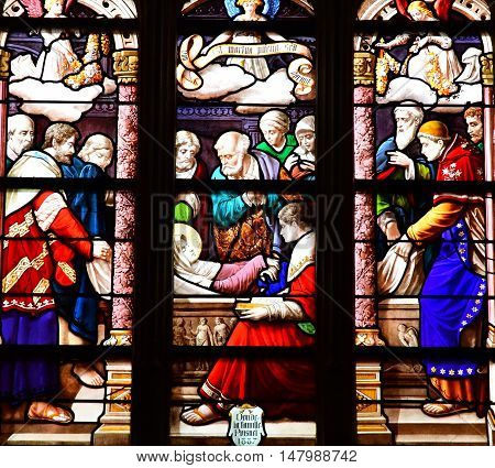 Bernay France - august 11 2016 : the stained glass window of the Sainte Croix church
