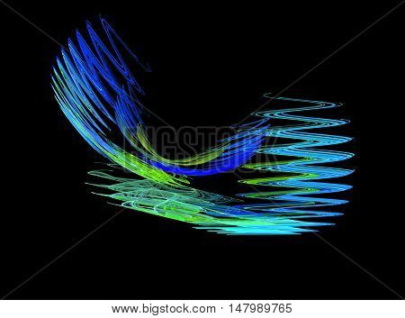 Abstract blue zigzag fractal on black background