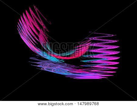 Abstract pink zigzag fractal on black background