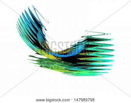 Abstract blue and green zigzag fractal on white background