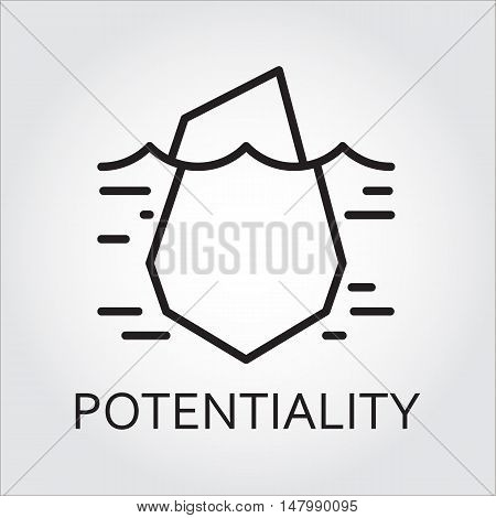Black flat line vector icon with a picture of hidden potential and opportunity as iceberg on white background.