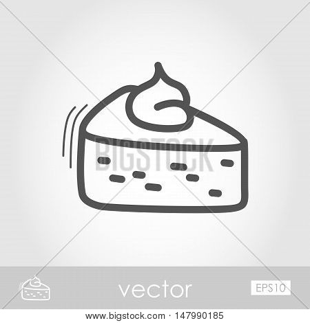 Piece of pumpkin pie served with whipped cream on the top outline icon. Harvest. Thanksgiving vector illustration eps 10