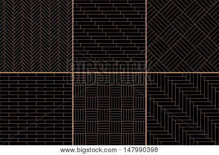 Black and golden simple geometric parquet floor set - herringbone, stripes, squares seamless patterns, vector collection