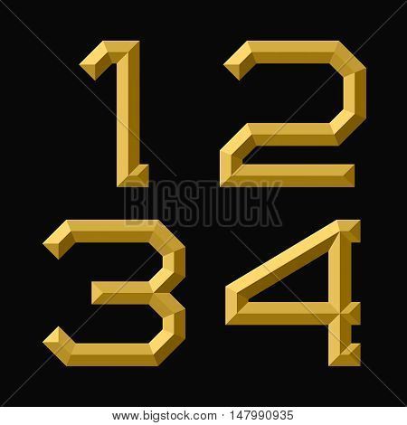 One two three four gold faceted numbers. Trendy and stylish golden font.