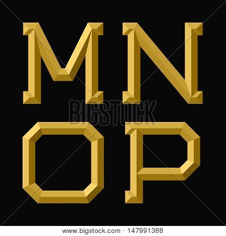 M N O P gold faceted letters. Trendy and stylish golden font.