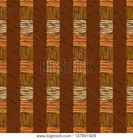 Brown vector striped grunge seamless pattern. Abstract african tribal background.