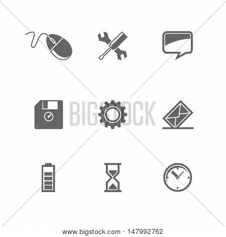 set of icons for mobile devices and Web site. For Your Design. Vector illustration.