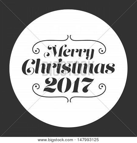 Merry Christmas 2017 card on a black background