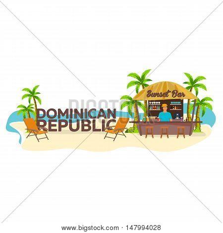 Beach Bar. Dominican Republic. Travel. Palm, Drink, Summer, Lounge Chair, Tropical.