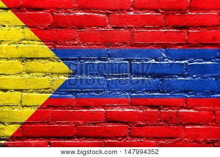 Flag Of Pasto, Colombia, Painted On Brick Wall