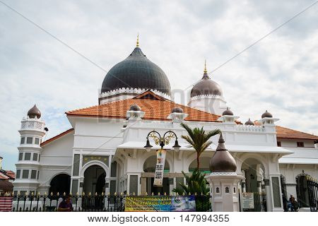 George town, Malaysia - September 2016: Exterior of Kapitan Keling Mosque, George Town, Penang, Malaysia. Kapitan Keling is a mosque built in the 19th century and a popular tourist sight in George town.