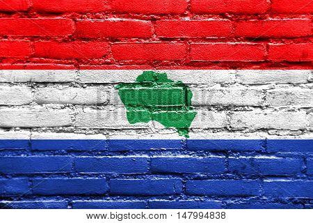 Flag Of Presidente Kennedy, Espirito Santo State, Brazil, Painted On Brick Wall