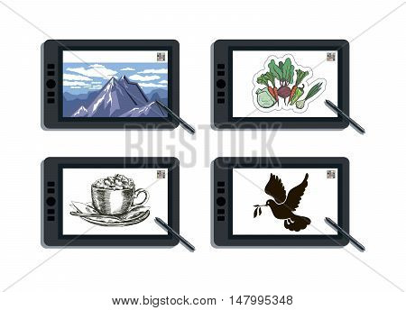 graphic tablet and its capabilities. vector illustration on white background