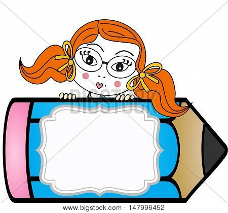 Scalable vectorial image representing a teacher girl with pencil personalized label sticker, isolated on white.