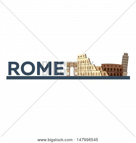 Trip To Italy. Travelling Illustration. Modern Flat Design. Travel By Airplane, Vacation, Adventure,