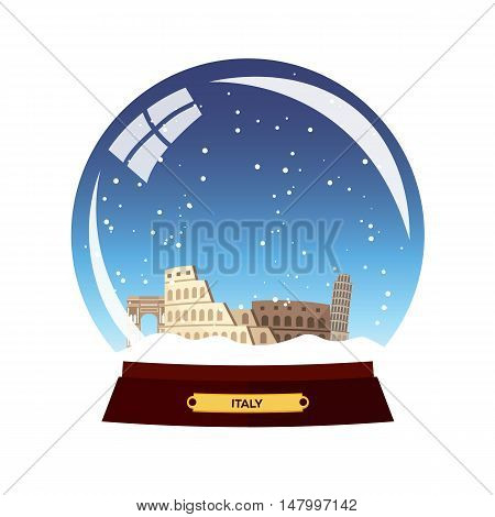 Snow Globe City. Rome In Snow Globe. Italy. Winter Travel Vector Illustration