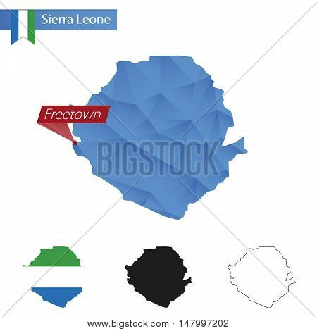 Sierra Leone Blue Low Poly Map With Capital Freetown.