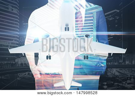 Businessman casual guy and airplane on abstract night city background. Double exposure