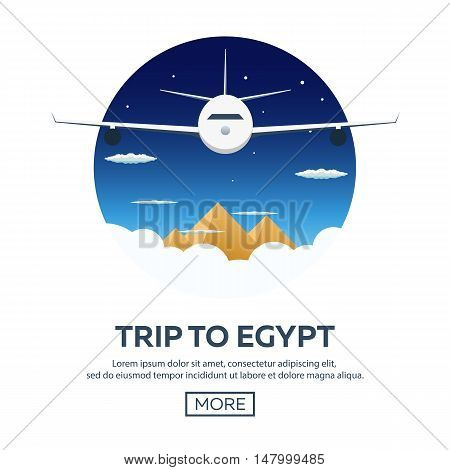 Trip To Egypt. Travelling Illustration. Modern Flat Design. Time To Travel