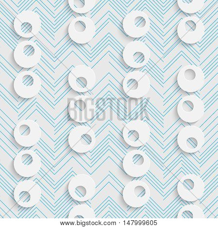 Seamless Chaotic Circles and Line Pattern. Vector Abstract Modern Design. White and Blue  Geometric Background.