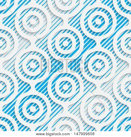 Seamless Damask Pattern. Vector Abstract Modern Design. White and Blue  Geometric Background.