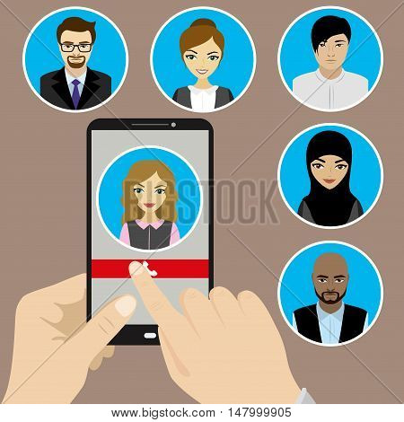 Template - hand holding a phone with the incoming call on the screen. Faces of people of different nationalities. Vector