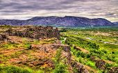 Fissures of the Mid-Atlantic Ridge in the Thingvellir National Park - Iceland poster