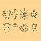 Buddhist symbolism, The 8 Auspicious Symbols of Buddhism, Right-coiled White Conch, Precious Umbrella, Victory Banner, Golden Fish, Dharma Wheel, Auspicious Drawing, Lotus Flower, Vase of Treasure. Icon set poster